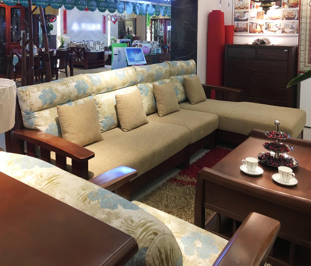 联邦家居 j12502型号转角沙发 山毛榉材质 现代中式风格 实木家具