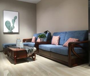 绿芝岛,转角沙发,实木沙发