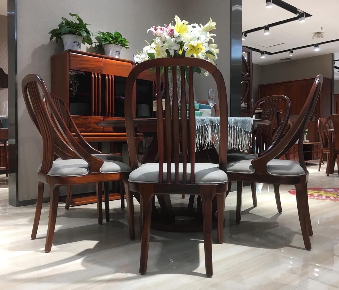 绿芝岛家具 h-d305型号现代中式实木圆餐桌 进口非洲核桃木