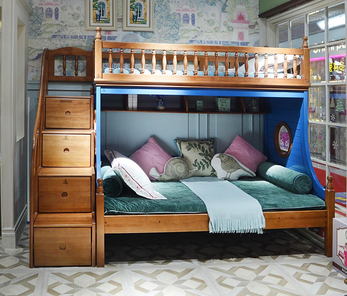 多喜爱W5 QTA102C-135+J601型号上下床 新西兰松材质床架 商品实拍