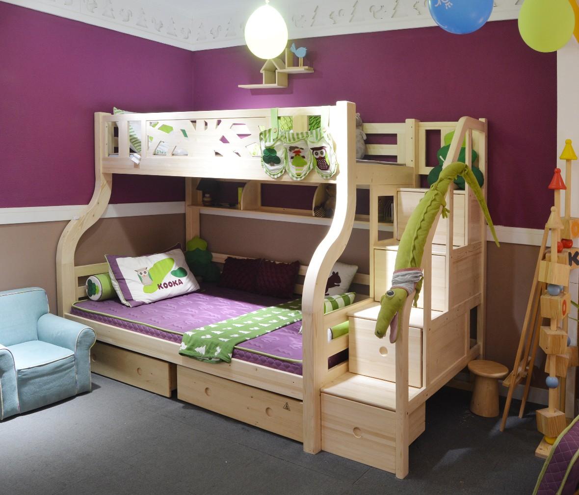 松果儿童家具 PAB010-1.35型号实木上下床 芬兰松材质儿童床 商品情景
