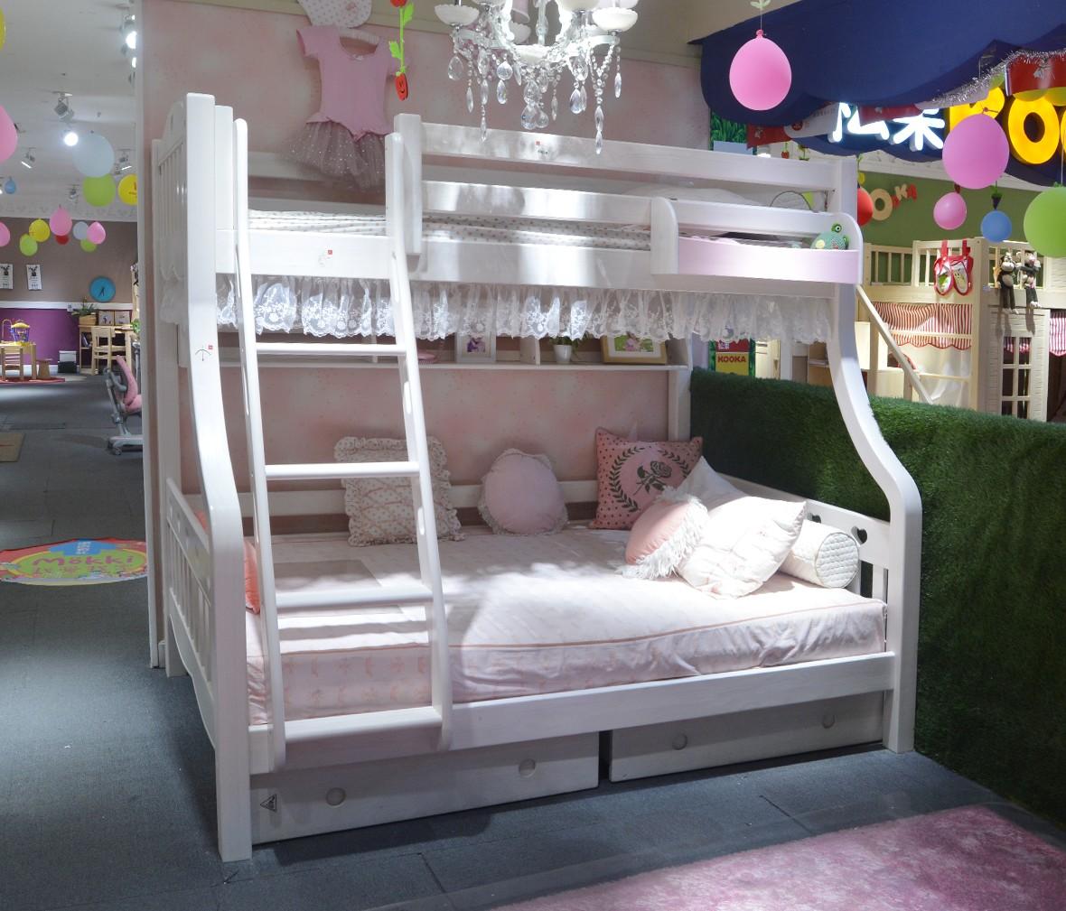 松果儿童家具 SA103X-135*20型号上下床 芬兰松材质儿童床 商品情景