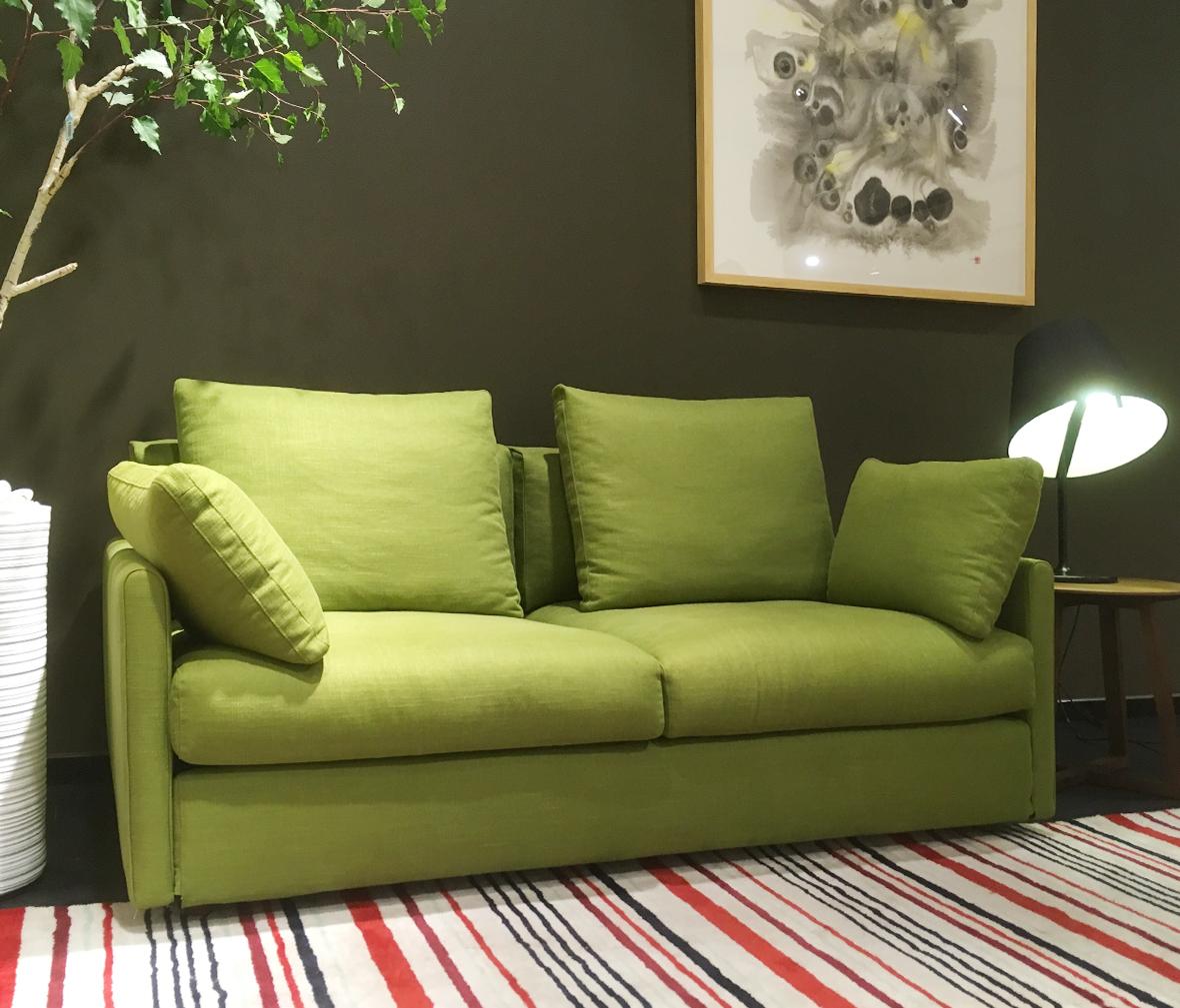 0  克莱恩家具 bd-r1037型号现代简约黄色布艺定型海绵一人位沙发