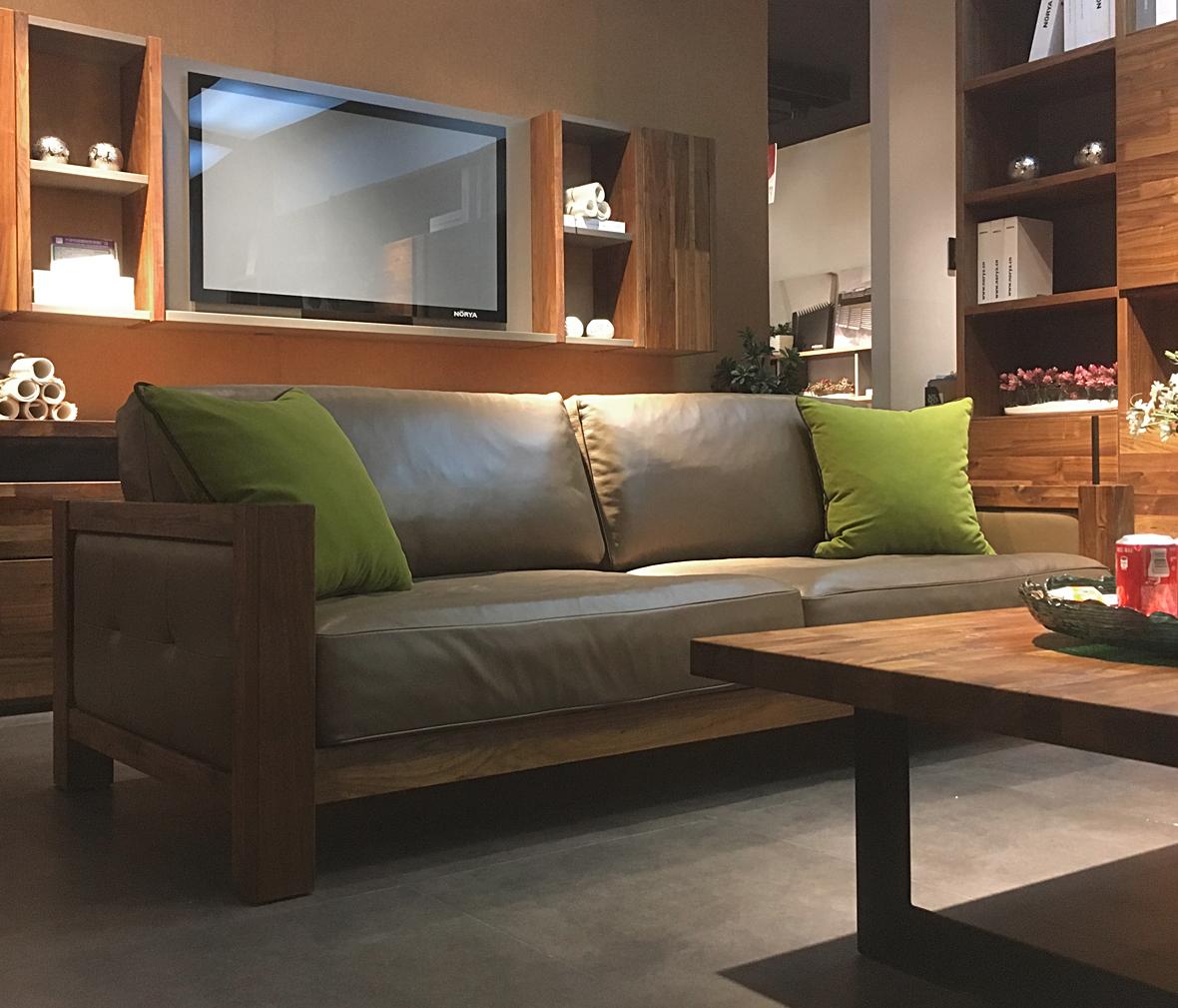 挪亞家 KASF083A-C型號實木真皮沙發 黑胡桃材質實木家具