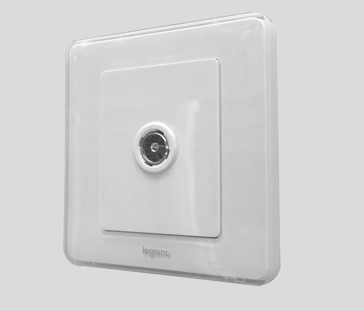 朗士照明 罗格朗逸典系列冰莹白电视插口 信号口 开关