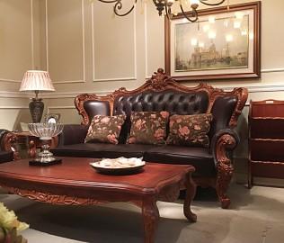 伯爵庄园,三人沙发,实木沙发