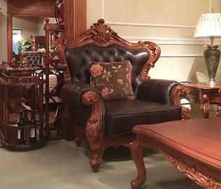 伯爵庄园,单人沙发,实木沙发