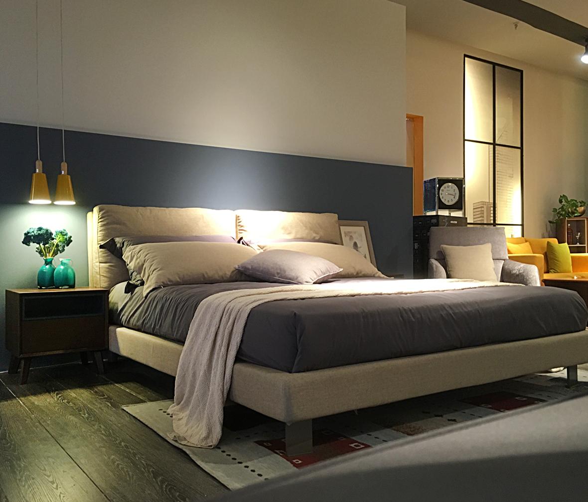 思利明兰 1621型号床 布艺材质现代简约风格卧室家具图片
