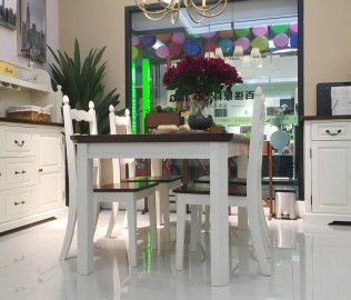 百强,实木餐桌,实木餐椅