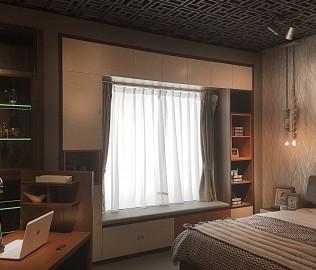 曲美家居,飘窗柜,卧室家具