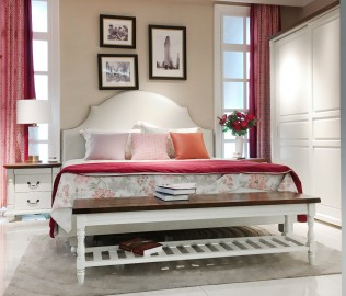 百强,实木家具,双人床