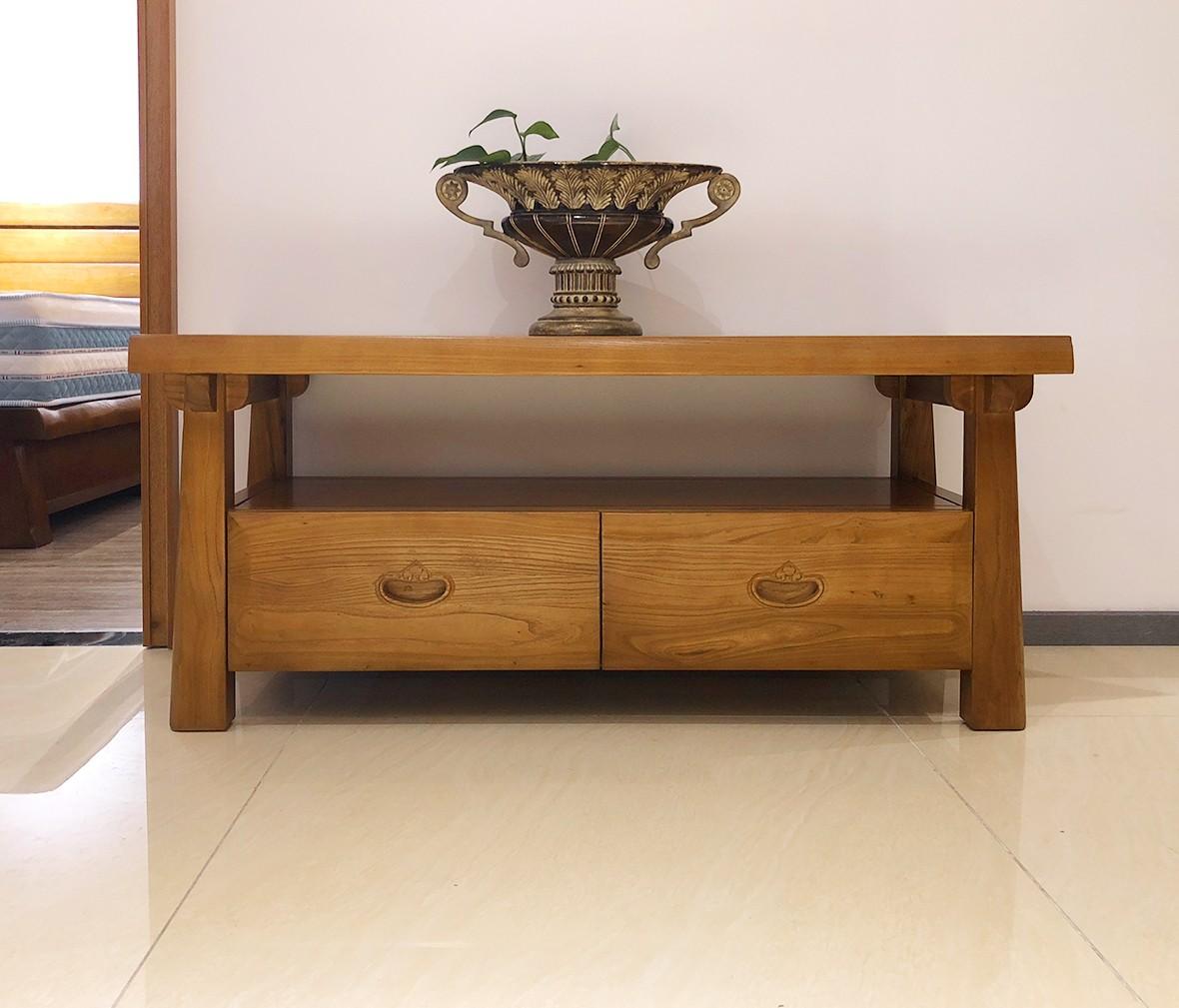 强力家具尚榆系列h203型号tv台榆木材质现代中式风格客厅家具