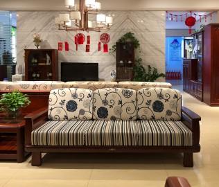 天坛家具,三人沙发,现代中式
