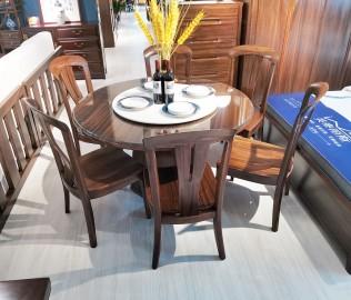 江南神龙,一桌六椅,实木家具