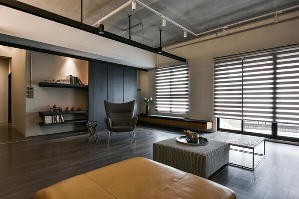 台湾高雄暗色系工业风住宅设计