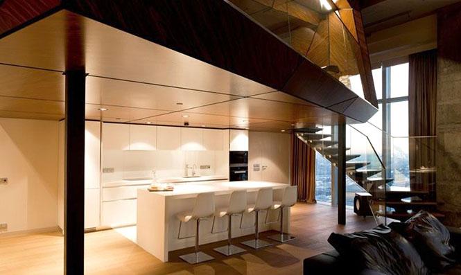 是开放式设计,这几个公共空间都布置在公寓的一楼