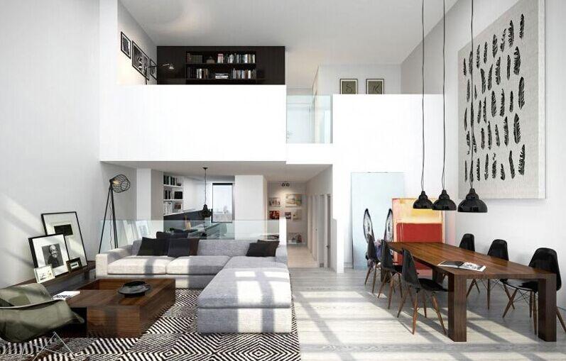 所有的公寓都使用了顶级的工业风的室内装饰材料,并保留了它们未经