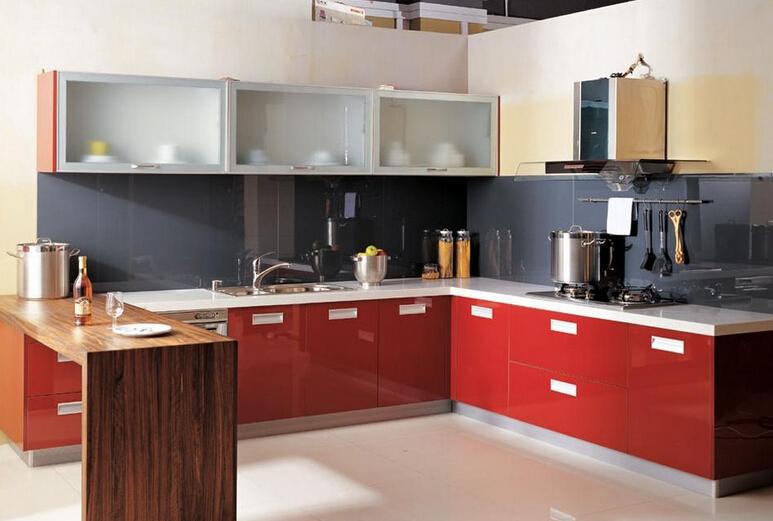 红色橱柜效果图